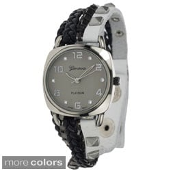 Geneva Platinum Women's Stainless Steel Studded Wrap Watch