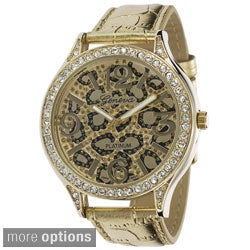 Geneva Platinum Women's Faux Leather Animal Print Strap Watch