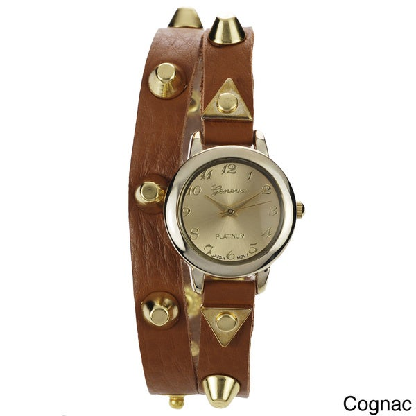 Geneva Platinum Women's Studded Wrap Watch with Colored Metal Dial