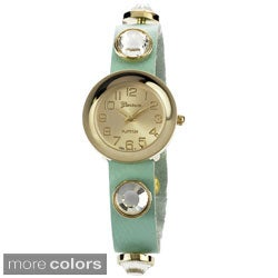 Geneva Platinum Women's Leather Rhinestone Accent Watch