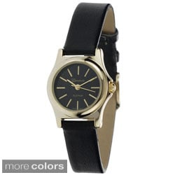 Geneva Platinum Women's Faux Leather Mini Round Face Watch