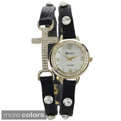 Geneva Platinum Women's Rhinestone Accent Cross Wrap Watch