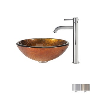 Kraus Bathroom Combo Set Triton Glass Vessel Sink and Ramus Faucet