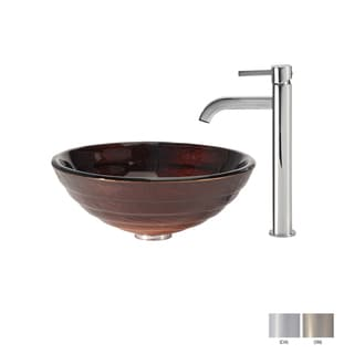 Kraus Bathroom Combo Set Iris Glass Vessel Sink and Ramus Faucet