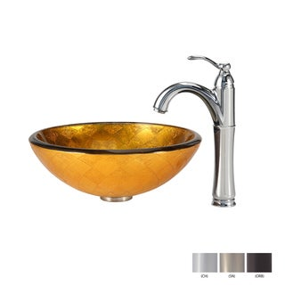 Kraus Bathroom Combo Set Orion Glass Vessel Sink and Riviera Faucet