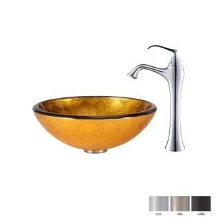 Kraus Bathroom Combo Set Orion Glass Vessel Sink and Ventus Faucet