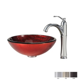 Kraus Bathroom Combo Set Charon Glass Vessel Sink and Riviera Faucet