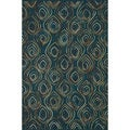 Hand-tufted Echo Blue Wool Rug (5'0 x 7'6)