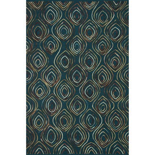 Hand-tufted Echo Blue Wool Rug (7'6 x 9'6)