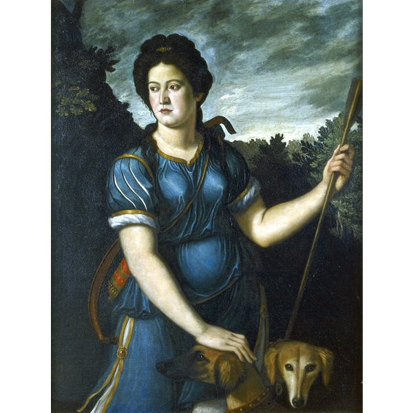 'Portrait of Diana the Huntress and Her Two Dogs, 16th Century Style' Canvas Print