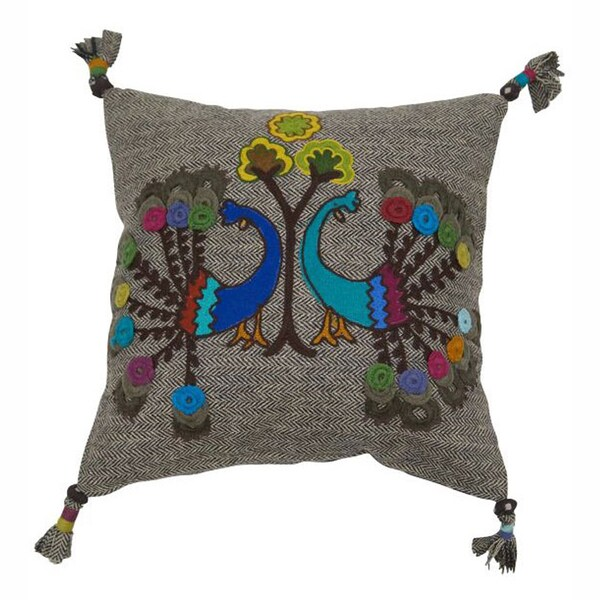 nuLOOM Decorative Peacock Multi Embroidered Cotton Pillow