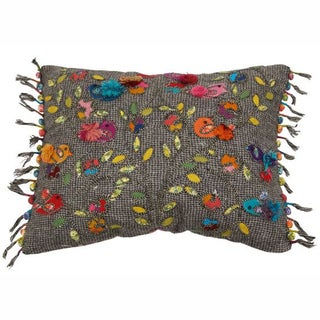 nuLOOM Decorative Multi Embroidered Cotton Pillow