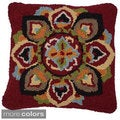 nuLOOM Decorative Hooked Floral Wool Pillow