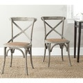 Safavieh Franklin X-back Distressed Colonial Walnut Oak Chairs (Set of 2)