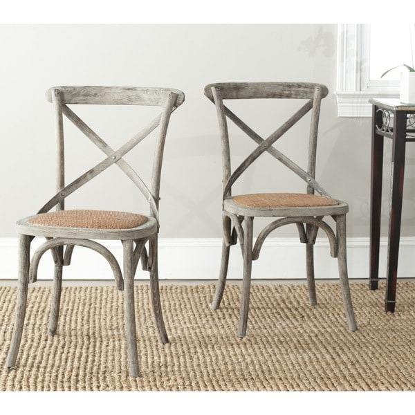 Safavieh Franklin X-back Distressed Colonial Grey Oak Chairs (Set of 2)