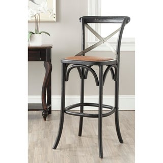 Safavieh Eleanor Distressed Black Oak 30.7-inch Bar Stool