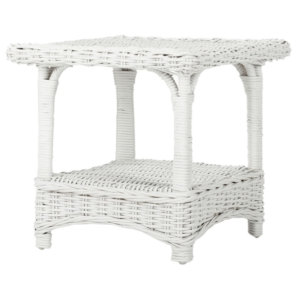 Safavieh Bowen White Rattan Side Table