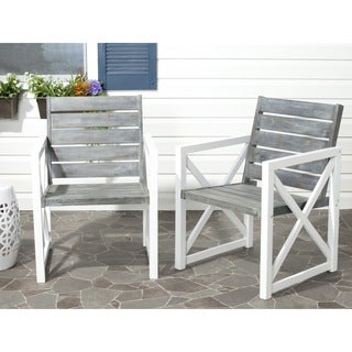 Safavieh Irina White Frame/ Ash Grey Seat Arm Chair (Set of 2)