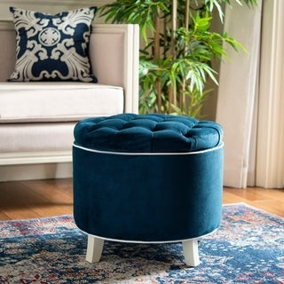 Safavieh Amelia Navy Tufted Storage Ottoman