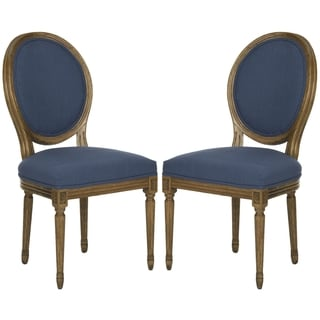 Safavieh Paris Oak/ Navy Oval Oak Side Chairs (Set of 2)