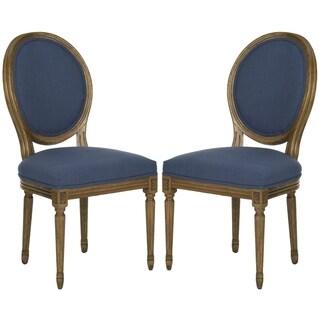 Safavieh Paris Oak/ Navy Oval Oak Side Chairs (Set of 2)