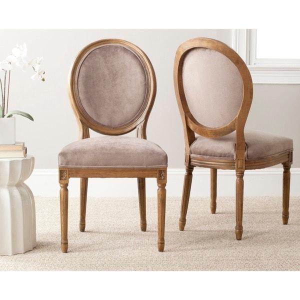 Safavieh Paris Mushroom Taupe Oval Oak Side Chairs (Set of 2)
