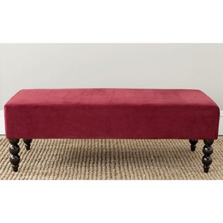 Safavieh 'Reagan' Red Velvet Nailhead Ottoman
