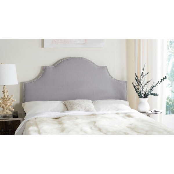 Hallmar Arctic Grey Upholstered Arched Headboard Silver Nailhead
