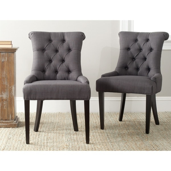 Safavieh Bowie Charcoal Grey Side Chairs (Set of 2)