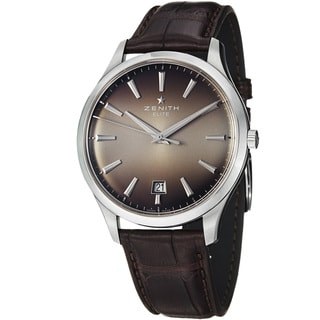 Zenith Men's 'Captain Elite' Smoke Dial Brown Leather Strap Watch