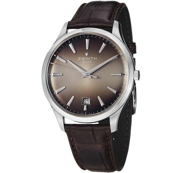 Zenith Men's 03.2020.670.22C 'Captain Elite' Smoke Dial Brown Leather Strap Watch