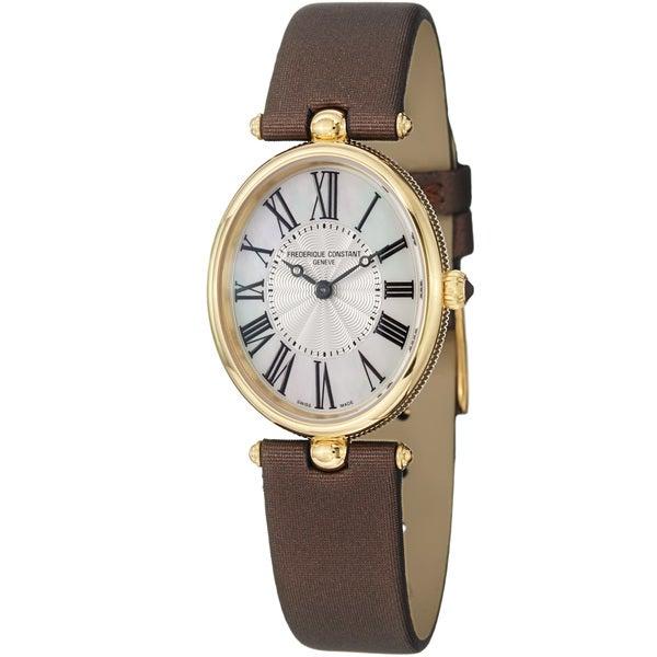 Frederique Constant Women's FC-200MPW2V5 'Art Deco' Brown Satin Strap Watch