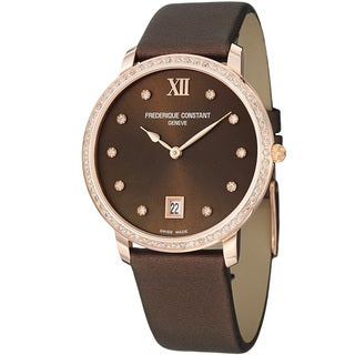 Frederique Constant Women's 'Slim Line' Brown Diamond Dial Strap Watch