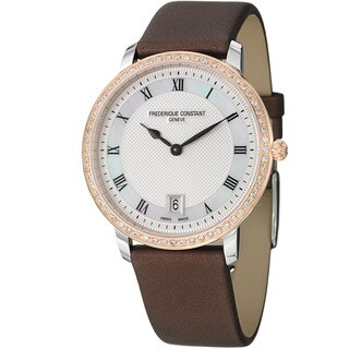 Frederique Constant Women's FC-220M4SD32 'Slim Line' Two Tone Satin Strap Watch