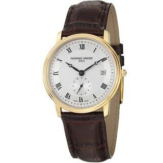 Frederique Constant Men's FC-245M4S5 'Slim Line' Silver Dial Brown Strap Watch