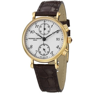 Frederique Constant Women's 'Classics' White Dial Brown Strap Watch