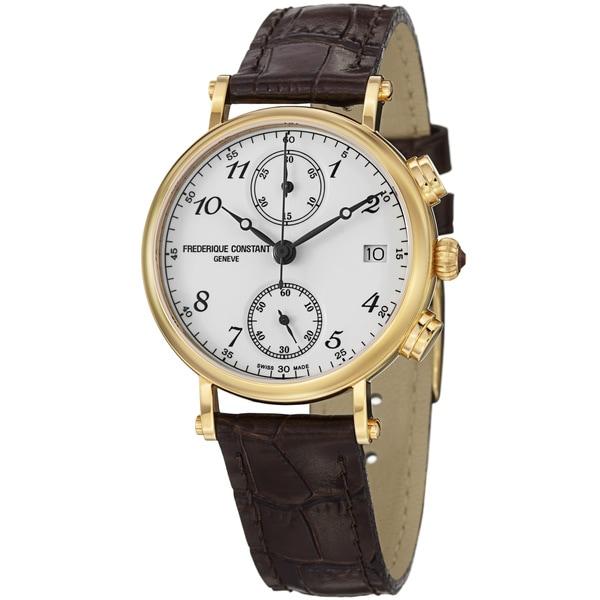Frederique Constant Women's FC-291A2R5 'Classics' White Dial Brown Strap Watch