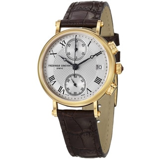 Frederique Constant Women's 'Classics' Silver Dial Brown Strap Watch
