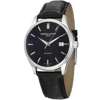 Frederique Constant Men's FC-303B5B6 'Index' Black Dial Black Leather Strap Watch