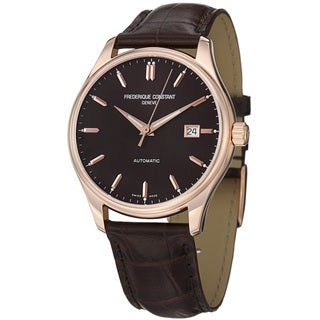 Frederique Constant Men's FC-303C5B4 'Index' Brown Dial Brown Leather Strap Watch