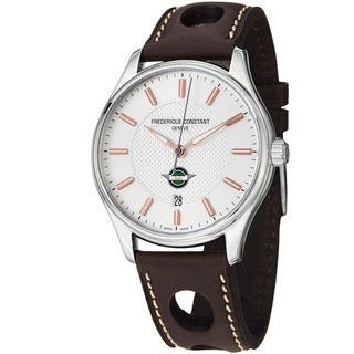Frederique Constant Men's FC-303HV5B6 'VintageRally' Silver Dial Brown Strap Watch