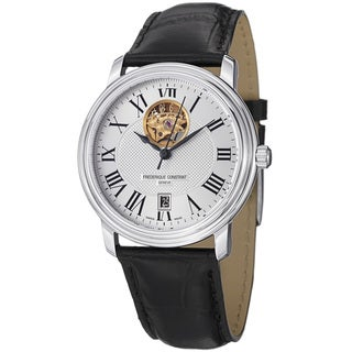 Frederique Constant Men's 'Classics' Silver Dial Leather Strap Watch