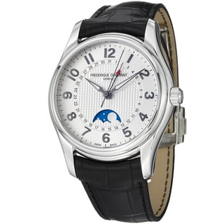 Frederique Constant Men's 'RunAbout' Silver Dial Leather Strap Watch