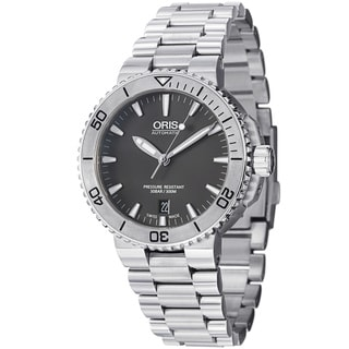 Oris Men's 733 7676 4153 MB 'Aquis' Grey Dial Stainless Steel Bracelet Automatic Watch
