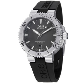 Oris Men's 733 7676 4153 RS 'Aquis' Grey Dial Black Rubber Strap Automatic Watch