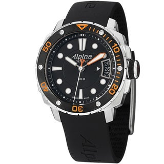 Alpina Women's 'Diver Mid' Black Dial Black Rubber Strap Quartz Watch