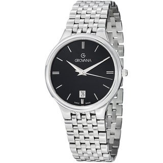 Grovana Men's 2013.1137 Black Dial Stainless Steel Bracelet Quartz Watch