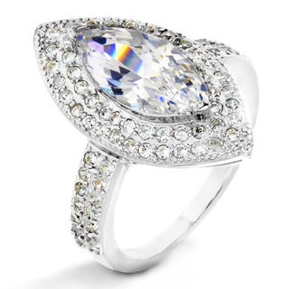 ELYA Sterling Silver Marquise and Round Cubic Zirconia Halo Ring