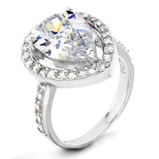 ELYA Sterling Silver White Pear-cut Cubic Zirconia Halo Ring