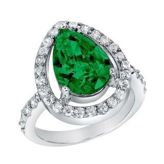ELYA Sterling Silver Rhodium Plated Pear Cut Emerald Cubic Zirconia Halo Ring